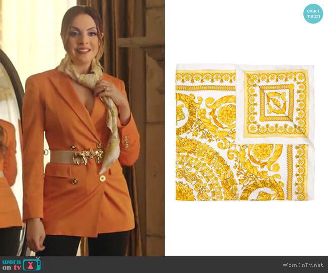 Baroque Silk Scarf by Versace worn by Fallon Carrington (Elizabeth Gillies) on Dynasty