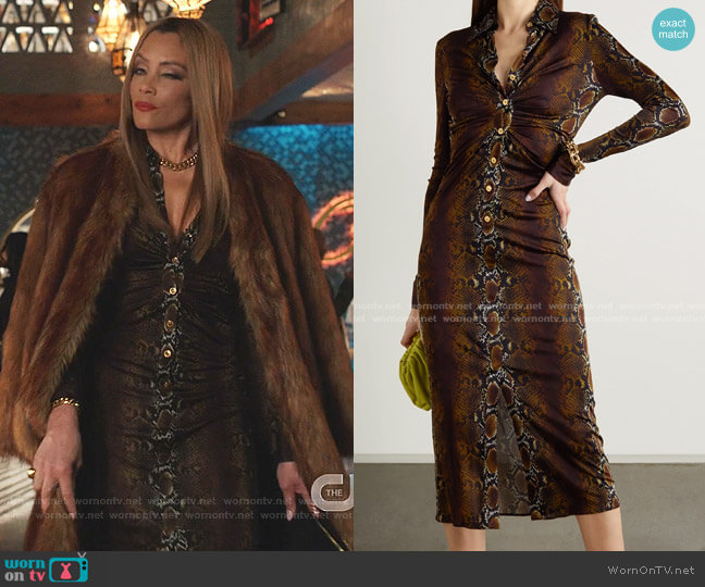 Ruched Snake-Print Stretch-Jersey Midi Shirt Dress by Versace worn by Dominique Deveraux (Michael Michele) on Dynasty