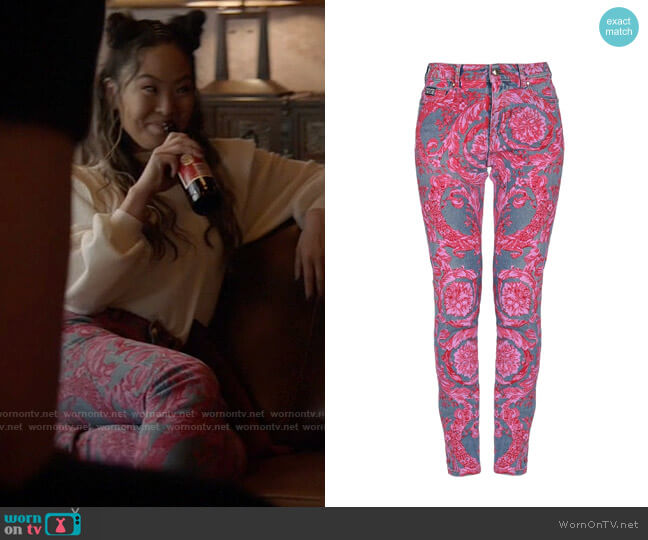 Versace Printed Jeans worn by Mary Hamilton (Nicole Kang) on Batwoman