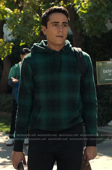 Victor's green plaid hoodie on Love Victor