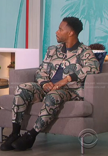 Victor Cruz's print bomber jacket and pants on The Talk