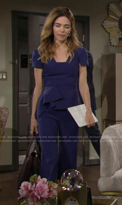 Victoria's blue peplum top on The Young and the Restless