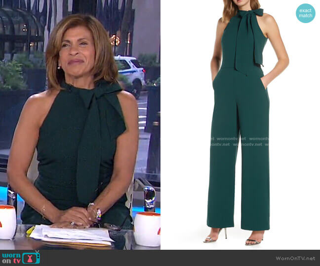 Bow Neck Stretch Crepe Jumpsuit by Vince Camuto worn by Hoda Kotb  on Today