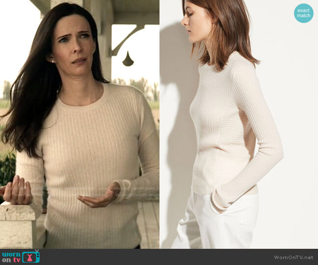 Vince Directional Rib Cashmere Pullover worn by Lois Lane (Elizabeth Tulloch) on Superman & Lois