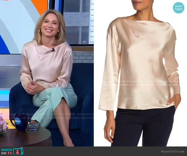 Silk Boatneck Blouse by Vince worn by Amy Robach  on Good Morning America