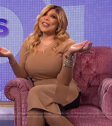 Wendy's beige asymmetric top and skirt on The Wendy Williams Show