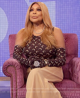 Wendy's brown moon crescent tank and gloves on The Wendy Williams Show