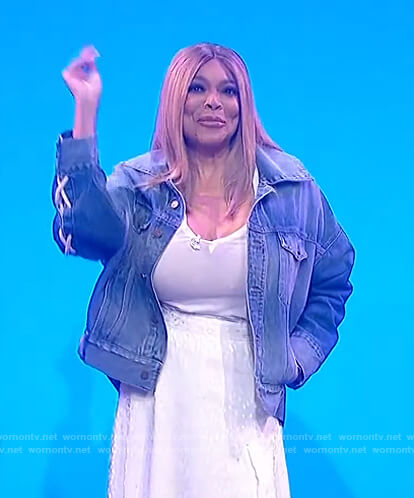 Wendy's lace-up denim jacket on The Wendy Williams Show