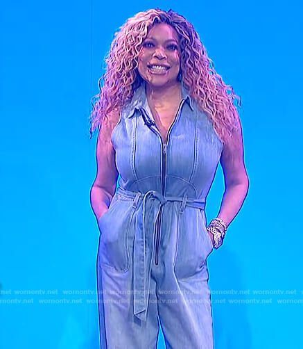 Wendy's sleeveless denim jumpsuit on The Wendy Williams Show