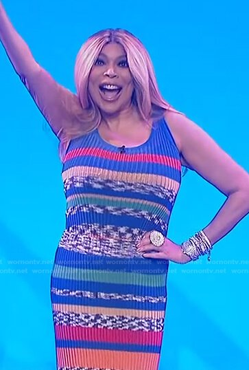 Wendy's multicolor striped ribbed top and skirt on The Wendy Williams Show