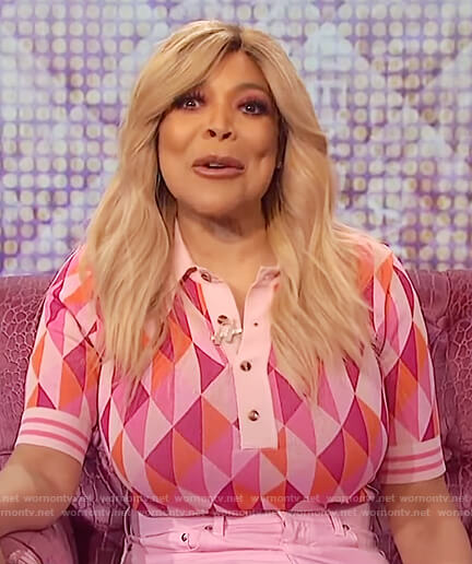 Wendy's pink triangles print polo on The Wendy Williams Show