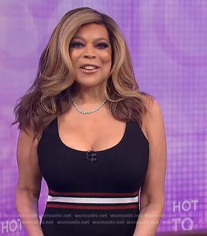Wendy's black stripe trim sleeveless dress on The Wendy Williams Show
