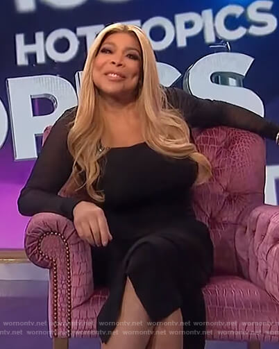 Wendy's black square neck mesh dress on The Wendy Williams Show
