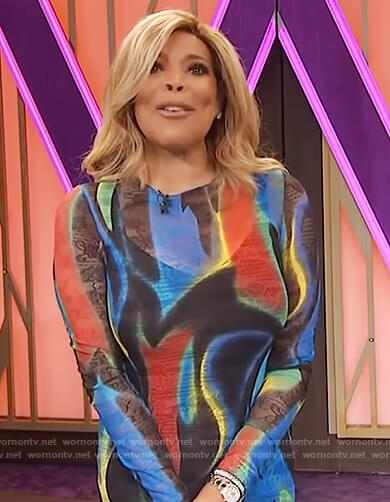 Wendy's multicolored swirl print dress on The Wendy Williams Show