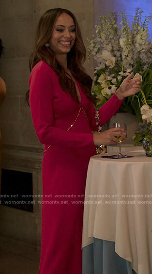 Whitney's red v-neck long sleeve dress with chain on Run the World