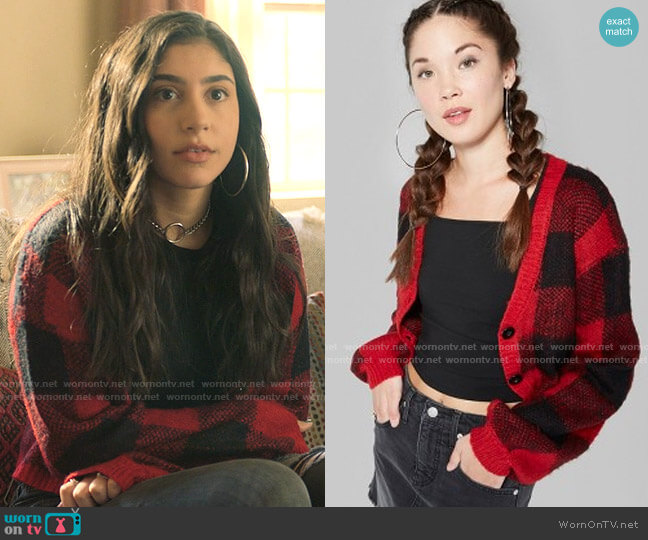 Wild Fable at Target Plaid Cropped Cardigan worn by Pilar Salazar (Isabella Ferreira) on Love Victor