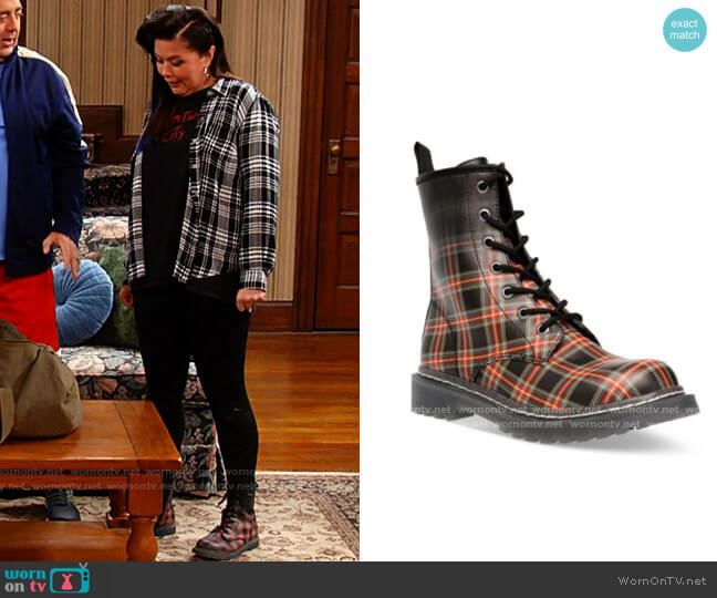 Wild Pair Ryyder Plaid Boots worn by Patty (Mary Hollis Inboden) on Kevin Can F**k Himself