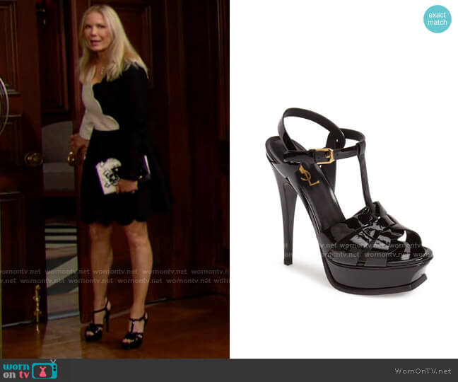 Saint Laurent Tribute Sandals worn by Brooke Logan (Katherine Kelly Lang) on The Bold & the Beautiful