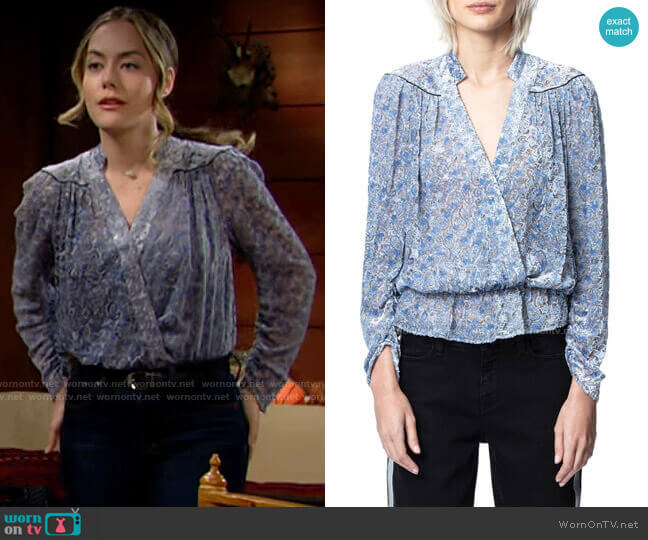 Zadig & Voltaire Tori Blouse worn by Hope Logan (Annika Noelle) on The Bold & the Beautiful