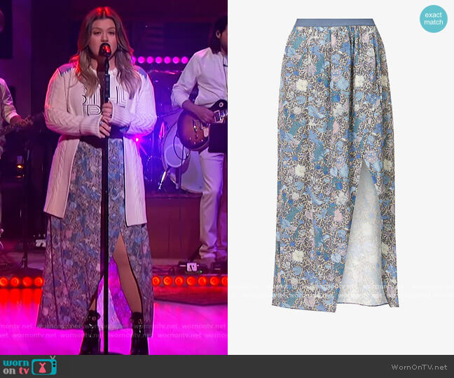 Josia wild garden-print crepe midi Skirt by Zadig and Voltaire worn by Kelly Clarkson  on The Kelly Clarkson Show