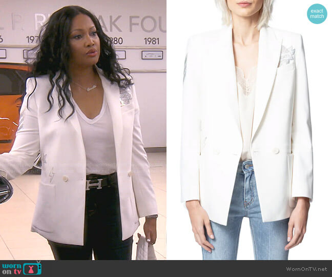Visko Crystal Embellished Blazer by Zadig & Voltaire worn by Garcelle Beauvais  on The Real Housewives of Beverly Hills