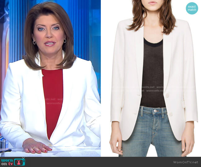 Viva Bis Love Strass Blazer by Zadig & Voltaire worn by Norah O'Donnell  on CBS Evening News