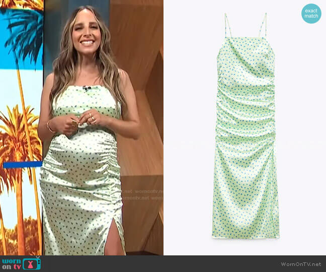 Satin Effect Floral Print Dress by Zara worn by Lilliana Vazquez  on E! News