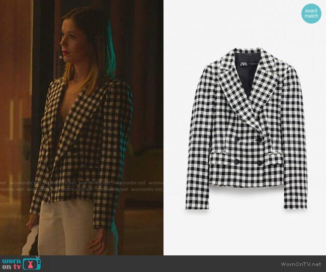 Gingham Blazer by Zara worn by Cayetana Grajera Pando (Georgina Amoros) on Elite