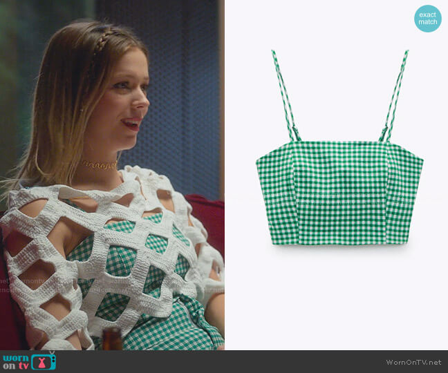 Gingham Cropped Top by Zara worn by Cayetana Grajera Pando (Georgina Amoros) on Elite