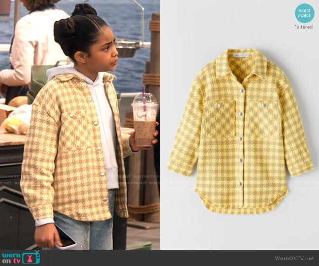 Zara Fringed Houndstooth Overshirt worn by Millicent (Jaidyn Triplett) on iCarly