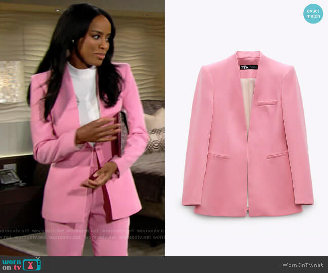 Zara Lapelless Blazer worn by Imani Benedict (Leigh-Ann Rose) on The Young & the Restless