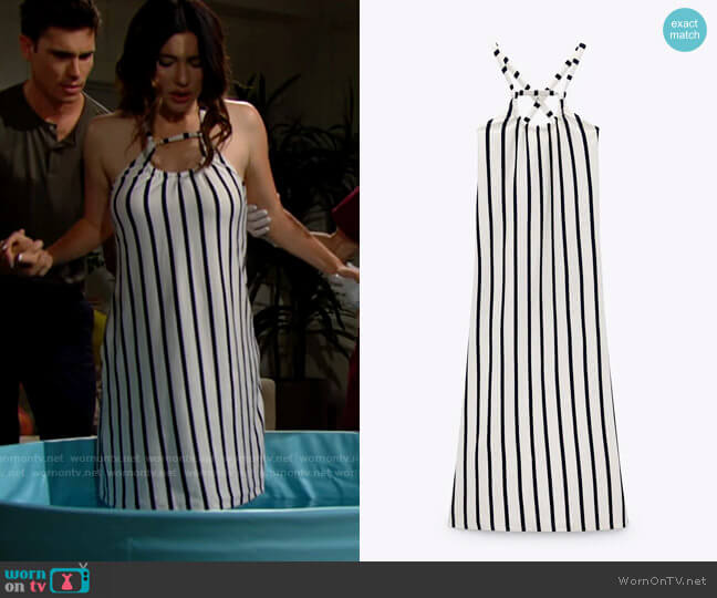 Zara Long Striped Dress worn by Steffy Forrester (Jacqueline MacInnes Wood) on The Bold & the Beautiful