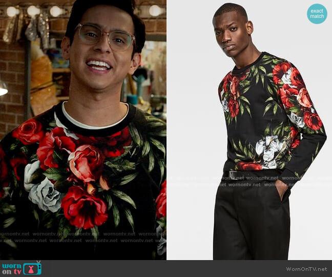 Zara Rose Print Sweatshirt worn by Carlos Rodriguez (Frankie A. Rodriguez) on High School Musical The Musical The Series
