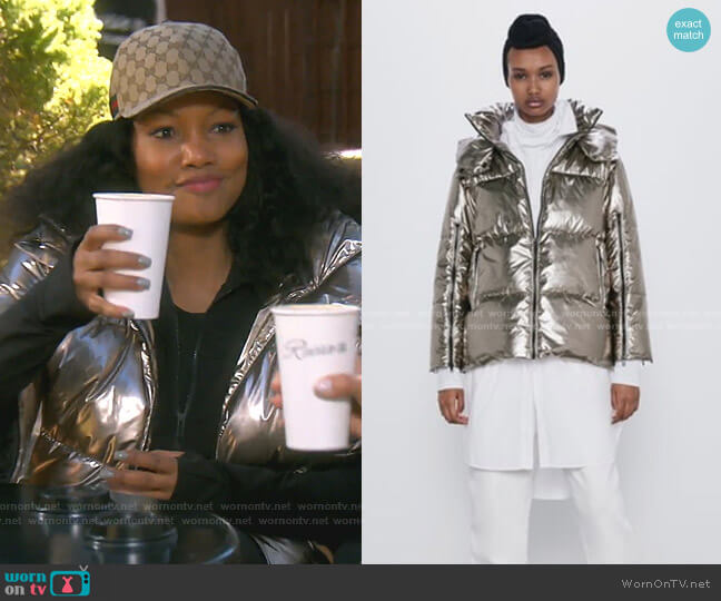 Puffer Jacket by Zara worn by Garcelle Beauvais  on The Real Housewives of Beverly Hills