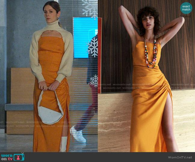 Draped Dress by Zara worn by Cayetana Grajera Pando (Georgina Amoros) on Elite