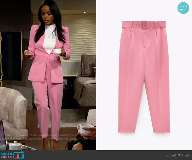 Zara Pants with Fabric Covered Belt worn by Imani Benedict (Leigh-Ann Rose) on The Young & the Restless
