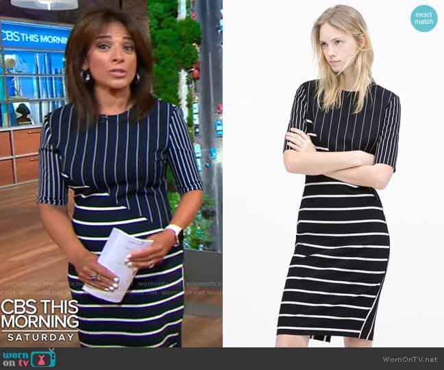 Zara Patchwork Tube Dress worn by Michelle Miller  on CBS Mornings