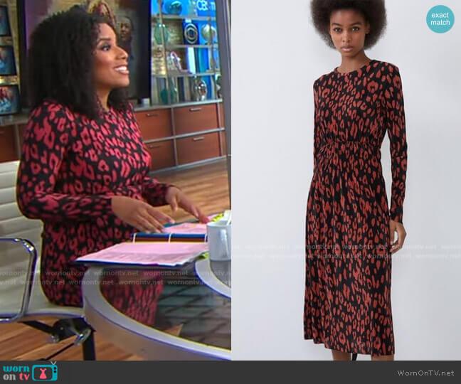 Zara Animal Print Dress worn by Adriana Diaz  on CBS Mornings