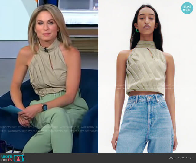 Pleated Cotton Top by Zara worn by Amy Robach  on Good Morning America
