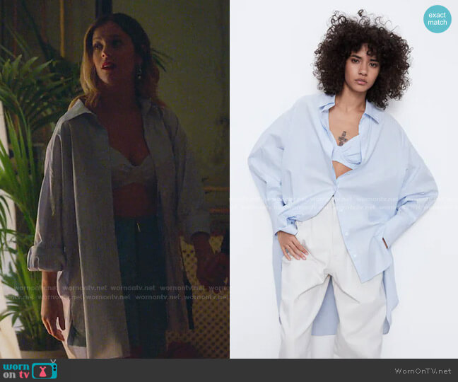 Poplin Oversize Shirt and Crop Top by Zara worn by Cayetana Grajera Pando (Georgina Amoros) on Elite