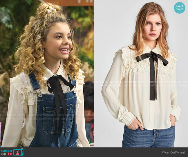 Ruffled Blouse with Contrasting Bow by Zara worn by Destiny Baker (Mallory James Mahoney) on Bunkd