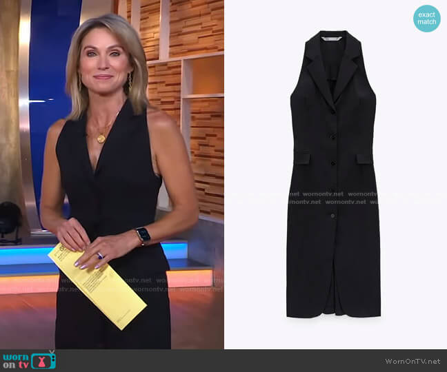 Tailored Linen Dress by Zara worn by Amy Robach  on Good Morning America