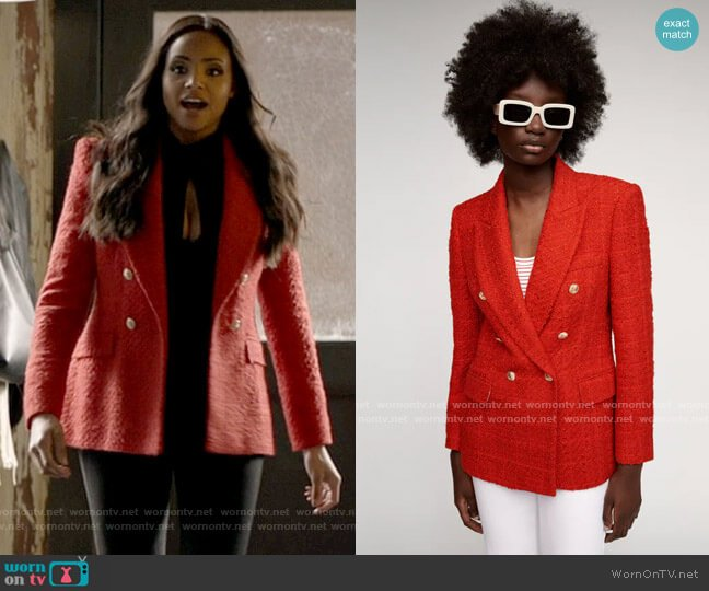 Zara Textured Double Breasted Blazer worn by Sophie Moore (Meagan Tandy) on Batwoman