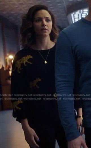 Zari's black leopard sweater on Legends of Tomorrow