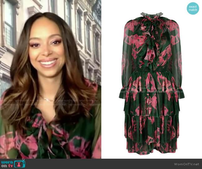 Poppy Tiered Tie-Dye Dress by Zimmermann worn by Amber Stevens West on GMA