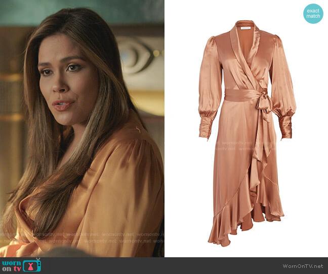 Silk Wrap Midi Dress by Zimmermann worn by Cristal Jennings (Daniella Alonso) on Dynasty