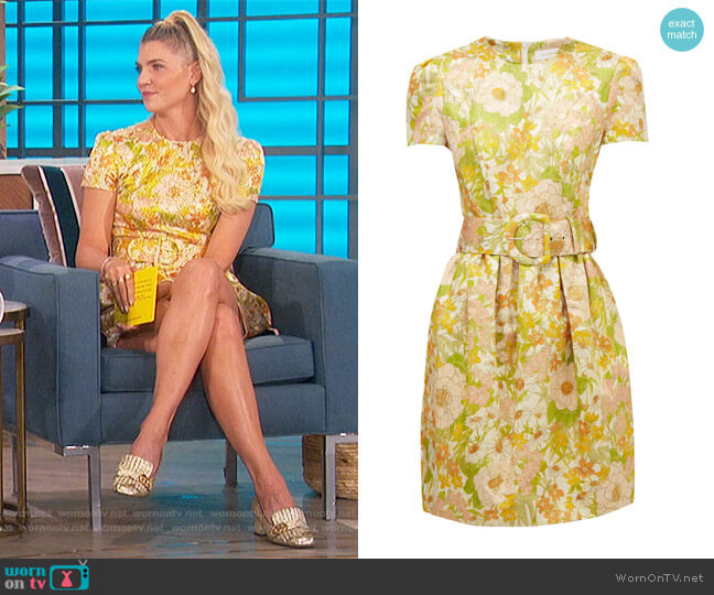 Super Eight belted floral-brocade mini dress by Zimmermann worn by Amanda Kloots  on The Talk