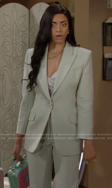 Zoe's light green suit on The Bold and the Beautiful