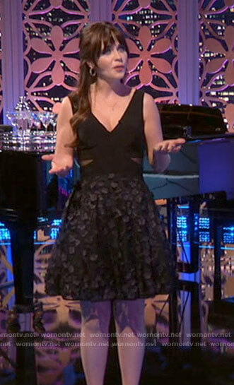 Zooey Deschanel's black floral applique dress on Celebrity Dating Game