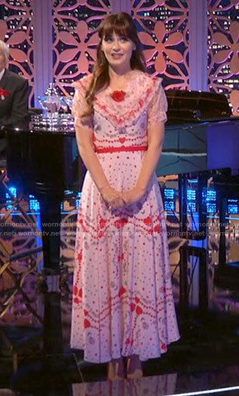 Zooey Deschanel's heart print dress on Celebrity Dating Game